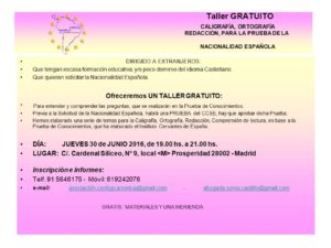 TALLER GRATUITO CALIGRAFÍA PARA NACIONALIDAD 30 JUNIO 2016